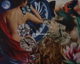 Original Collage Art Print , Money Shower