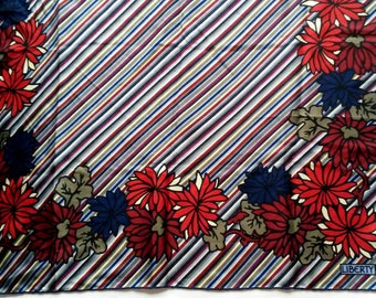 vintage LIBERTY of London silk scarf striped & floral print 26""