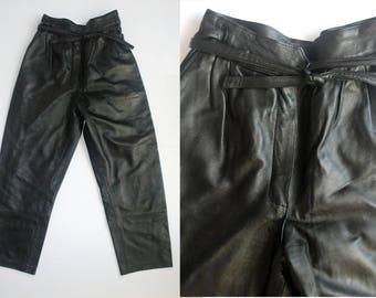 vintage leather tapered leg high waisted pleated trousers UK 8 10