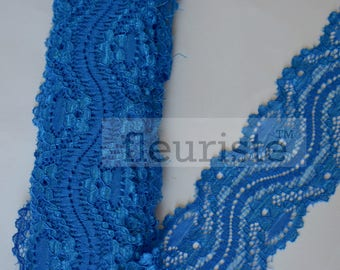 New Elastic Lace, Lace Ribbon Stretch Lace, Elastic Lace Trim, Lace by the yard, Lace Trim, Stretchy Lace Elastic, 2.25 inch, Royal Blue
