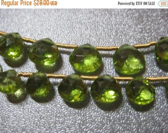 ON SALE 15% OFF Peridot Graduated Faceted Briolette Beads 28pcs
