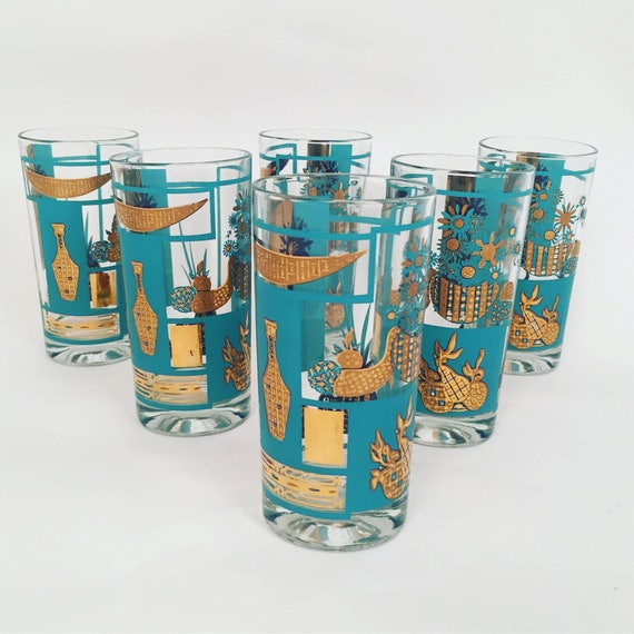 Mid-Century Gold & Blue Highball drinking glasses set of 6