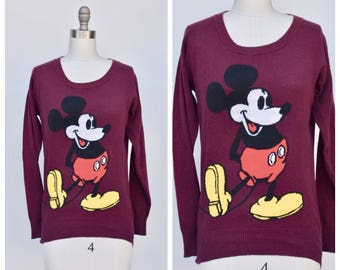 maroon MICKEY MOUSE sweater top /  medium