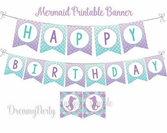 Mermaid Birthday Banner, Mermaid Party Decorations, Printable Banner, Happy Birthday Banner, Purple and Teal,Under the Sea, Digital File.