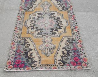 """Oushak Rug Vintage Rug Turkish Rug Vintage Turkish Rug Area Rug Handmade Wool Rug Vintage Anatolian Carpet 4'4"""" x 7'1"""" Feet Free Shipping !"""