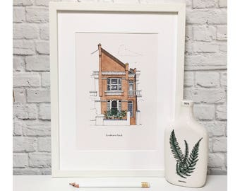Custom house portrait. SMALL HOUSE. Pen and ink.
