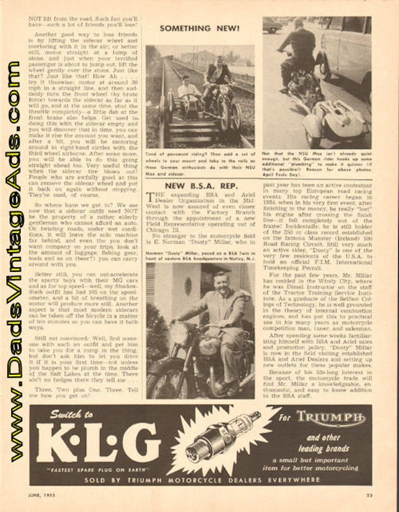 1955 New BSA Representative E. Norman ''Dusty'' Millar 1-Page Article #t55fa04