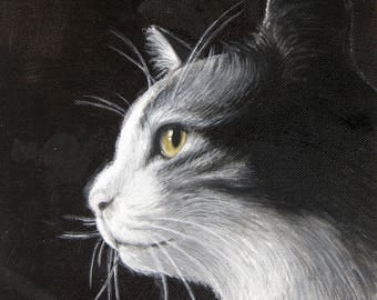 December-cat portrait oil painting on canvas