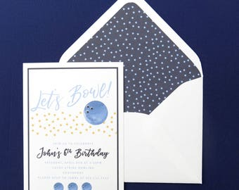 Birthday Boy Invitation - Bowling Party -  Printed A7 5x7 Invitation - Navy and Light Blue