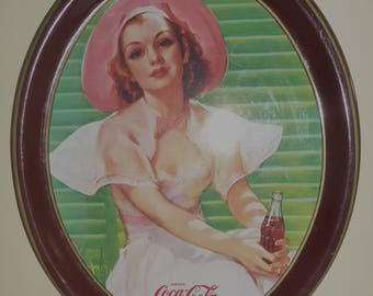 Vintage 1977 Coca-Cola Collectible Tray - Reproduction of 1938 Calendar illustrated by Bradshaw Crandall