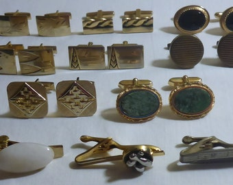 Lot of Vintage Cuff Links and Tie Tacks - 8 sets if Vintage Cuff Links & 3 Vintage Tie Clips