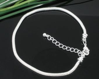 Bracelet 17cm in closed silver snake. Snap CHARMS Ac