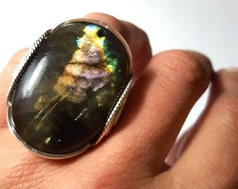 SALE Huge Labradorite Ring, Size 8, 8.5, Size 9 Oval Flashy Gemstone Statement Rings, Sterling Silver, Finger Candy, Colorful Rainbow Gemsto