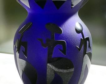 Fellerman Raabe 1990's Cameo Cobalt Glass Vase with African Motif