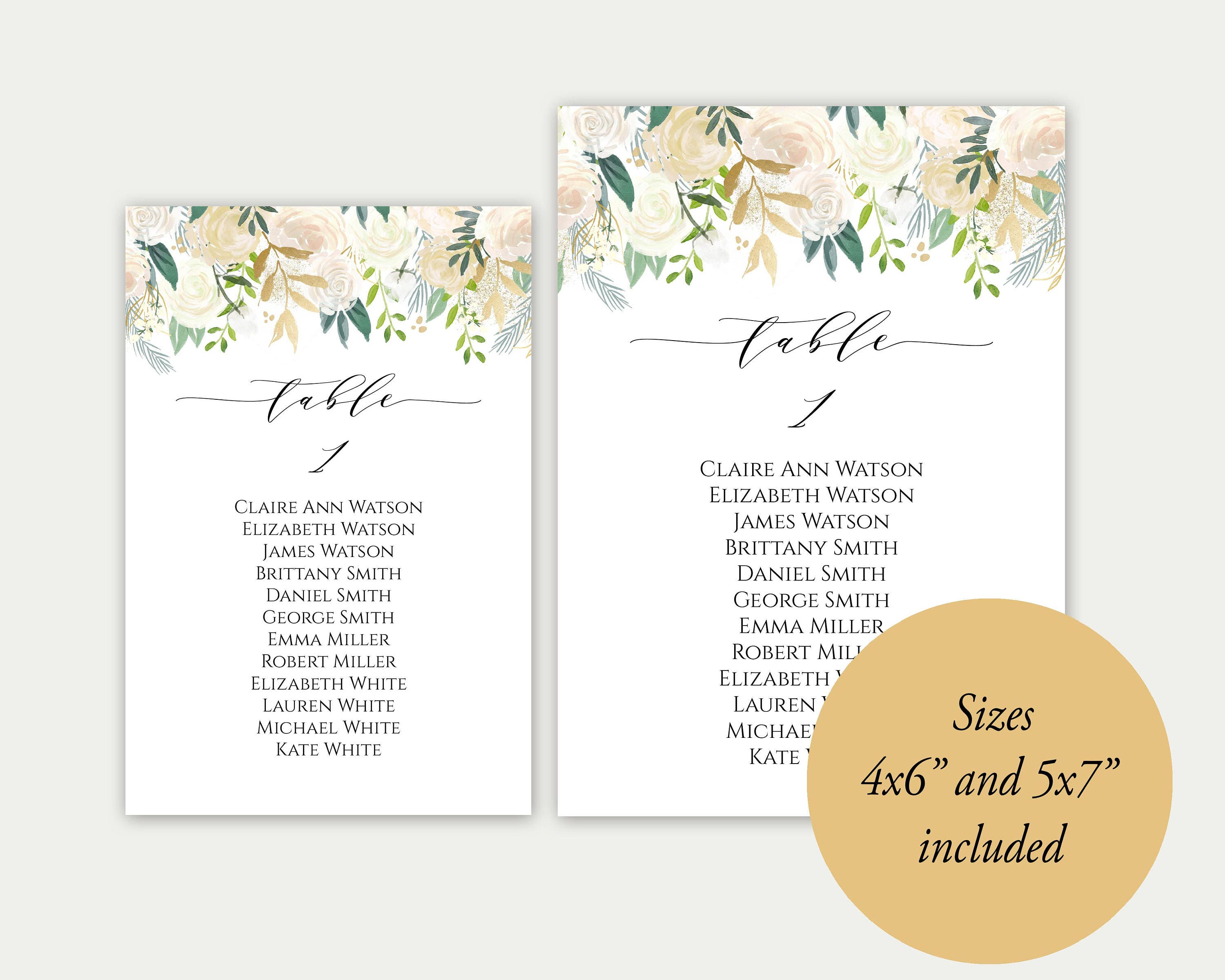Wedding Seating Chart Template Seating Cards Gold Seating Cards