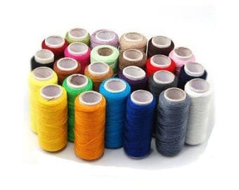 24 × threads to sew/stitching/in polyester / colorful set of 24 spools