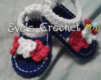 Baby girl 4 of July crochet sandals