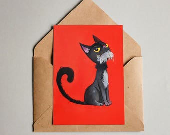Post card: Black cat and mouse