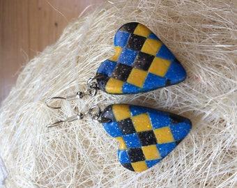 Yellow polymer heart earrings