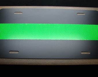 THIN GREEN LINE Highly Reflective Metal Car License Plate
