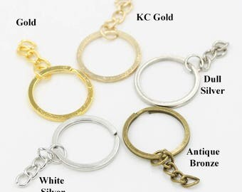 Round Flat Split Key Ring Extend Chain Blank Keychain Bag Charm Keyfob Finding