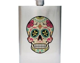 Sugar Skull Inspired 8oz Stainless Steel Flask