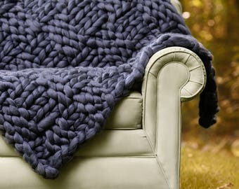 Chunky Knit blanket, Merino Blanket, Arm knit blanket, Merino wool blanket, Giant knit throw,