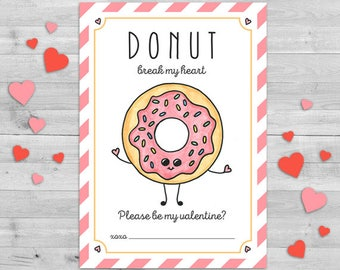 Donut Valentine Card, Classroom Valentines Cards, Valentine Gift Tags, Classroom Valentines Cards PRINTABLE, Donut Valentine Day Cards DIY