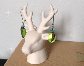Green and turquoise earrings