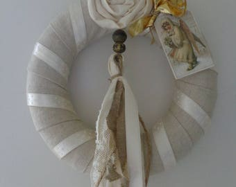"Christmas shabby ""The Angel"" VINTAGE""natural linen wreath"