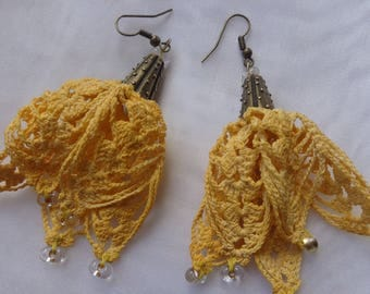 Old linen thread and Yellow Sun Flower Earrings