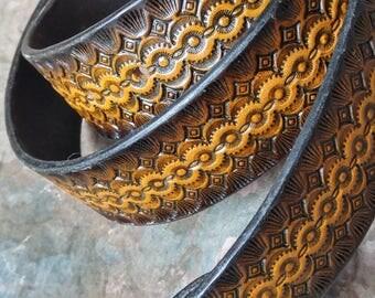 "hand tooled leather belt -- Custom Made 1 1/2"" Leather Belt  -- Men's or Womens -- Hand Stamped -- Custom Belt  -- USA Made"