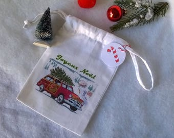 Mini bag fabric Christmas picture vintage car and tree on the roof
