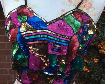 1980's Sequin Bustier by Dino Rosin