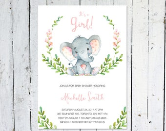 Baby Shower Invitation Girl, Elephant Baby Shower Invitation, It's A Girl, Wreath, Greenery, Pink, Grey, Printable, Printed