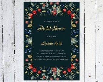 Bridal Shower Invitation, Christmas Bridal Shower Invitation, Gold, Winter, Holly, Printable, Printed