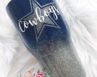 Dallas Cowboys Glittered Tumbler/ 30 ounce Ozark Trail/Cowboys Cup/Dallas Cowboys Yeti/Personalized/handmade glitter tumbler/blue silver cup