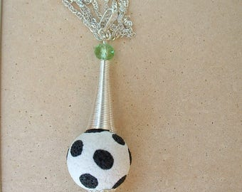 BEAUTIFUL PENDANT POLYMER CLAY AND SUGAR BEAD MOUNTED ON 925 STERLING SILVER CHAIN