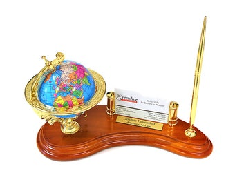 Rotating Globe Personalized Pen Stand with Business Card Holder - Deluxe Desk Organiser with Globe - Luxury Wooden Pen Stand and Globe