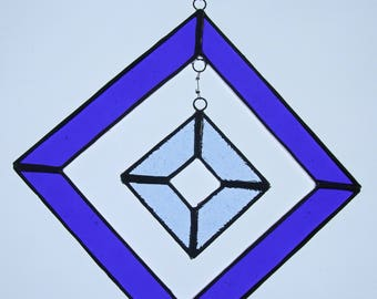 Stained Glass Sun Catcher Square Hanging in Blues