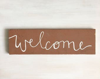 Rustic Weathered Wood Welcome Wedding Sign Hand Painted Custom White Lettering