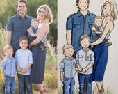 11x14 or 8x10 -Custom Watercolor Family Portrait - watercolor - family portrait - custom illustration - wedding gift - custom christmas card