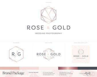 Logo Design | Branding Kit | Photography Logo & Watermark | Geometric Logo | Rose Gold Logo | Rose Gold Branding Package