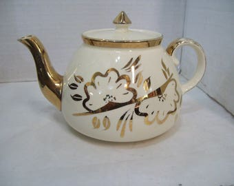 Gibson Staffordshire Gold Teapot Made in England, T107, Free Shipping