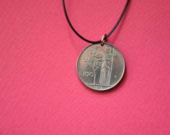 Republica italiana l.100, 1972. Coin pendant. Сoin jewelry. Mens Necklace, Womens Necklace