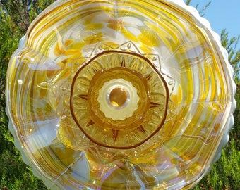 Golden Yellow Glass Flower, Outdoor Decor, Yard Art, Glass Flowers, Glass Garden Art, Garden Art Glass, Plate Flowers,  Gift, LinMoonDesigns