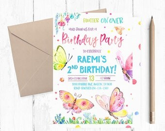 Butterfly Invitation, Butterfly Birthday Invitations, Butterfly Birthday Invites, Spring Invitations, Spring Birthday Invitation, invite