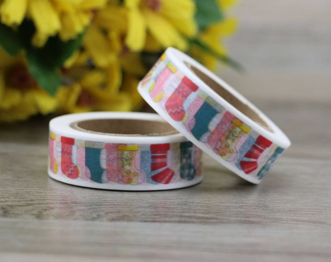 Washi Tape - Christmas Washi Tape - Stockings washi Tape - Paper Tape - Planner Washi Tape - Washi - Decorative Tape - Deco Paper Tape