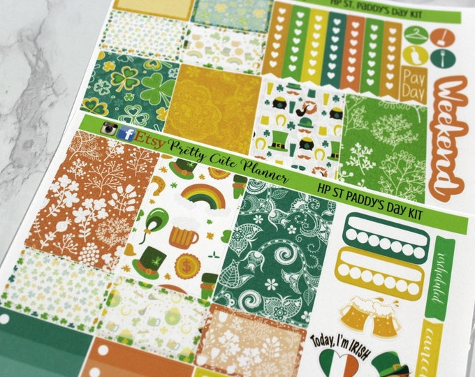 Happy Planner Stickers - Weekly Planner - Erin Condren Life Planner -  Functional stickers - Saint Patricks Day - St. Paddys day stickers