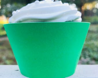 Green Cupcake Wrapper, Custom Cupcake Wrapper, Standard Size Cupcake Wrappers, Custom Color Cupcake Wrappers